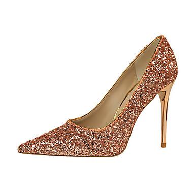 Mujer Zapatos Cuero de Napa Primavera Confort Oxfords Tacón Stiletto Dedo Puntiagudo Negro / Marrón pbDZLZnE