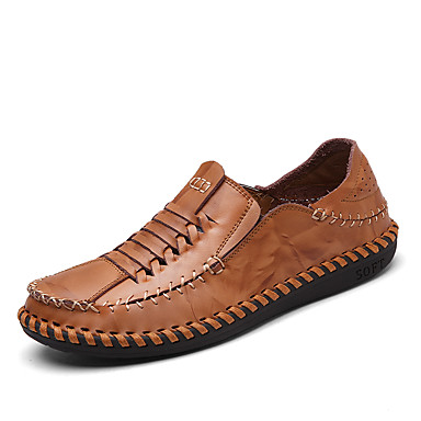 Men's Moccasin Nappa Leather Summer / Fall Loafers & Slip-Ons Black / Light Brown / Party & Evening