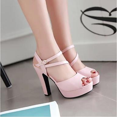 Damen Schuhe PU Sommer Komfort Sandalen Für Normal Schwarz Blau Rosa