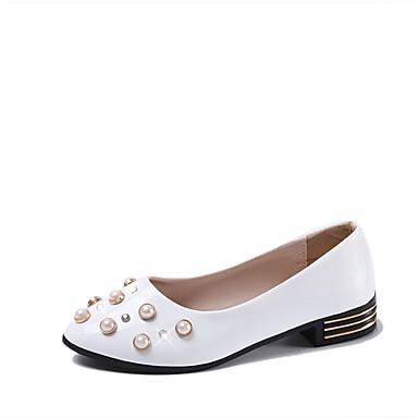 Damen Schuhe PU Frühling / Sommer Komfort Sandalen Blockabsatz Runde Zehe Imitationsperle Weiß / Schwarz / Party & Festivität