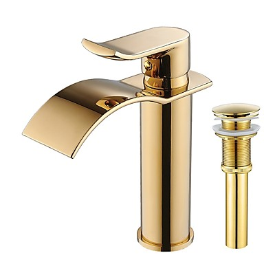 Faucet Set - Waterfall Ti-PVD Centerset Single Handle One Hole