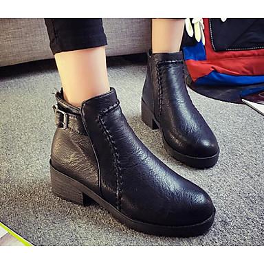 Damen Schuhe Echtes Leder PU Winter Komfort Springerstiefel Stiefel Für Normal Schwarz Braun
