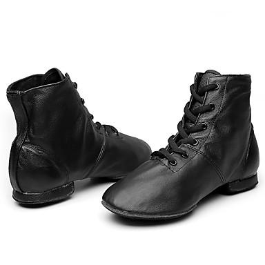 Men's / Women's Jazz Shoes Leather Boots Flat Heel Customizable Dance Shoes Black / Performance