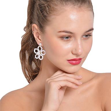 Női Obszidián Beszúrós fülbevalók, Függők - Gyöngyutánzat Virág Fehér