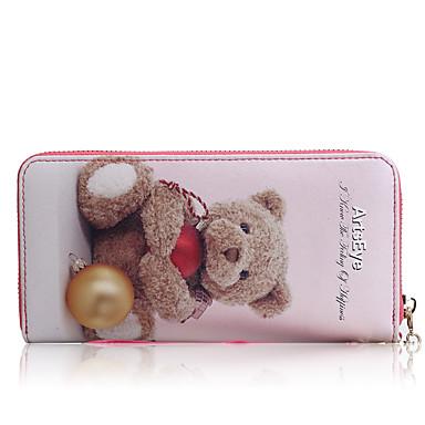 Damen Scheckheft Brieftasche Kuhfell Ganzjährig Alltag Normal Reißverschluss Weiß Rosa