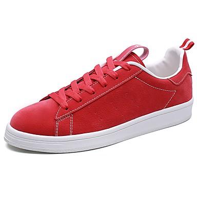 Férfi cipő PU Tavasz Ősz Kényelmes Tornacipők Fűző mert Hétköznapi Fekete Szürke Piros Kék
