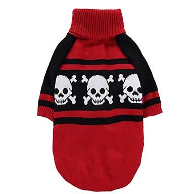 Cica Kutya Kabátok Pulóverek Karácsony Kutyaruházat Koponya Piros Spandex Cotton/Linen Blend Jelmez Háziállatok számára Party