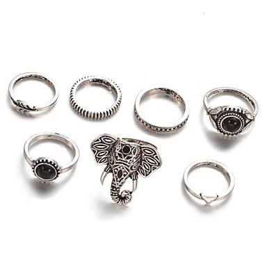 Női Ötvözet Elefánt / Leaf Shape - Kör Vintage / elegáns / Divat Ezüst Gyűrű Kompatibilitás Napi / Hétköznapi / Estély