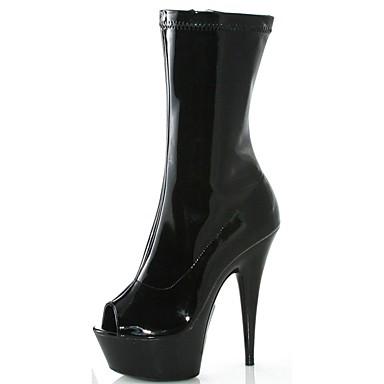Fermeture Demi Bottine Botte Bottes Mode Printemps Aiguille Talon 06130691 à Noir Chaussures Polyuréthane Femme ouvert Automne Bottes la Bout OAawqI61Wx