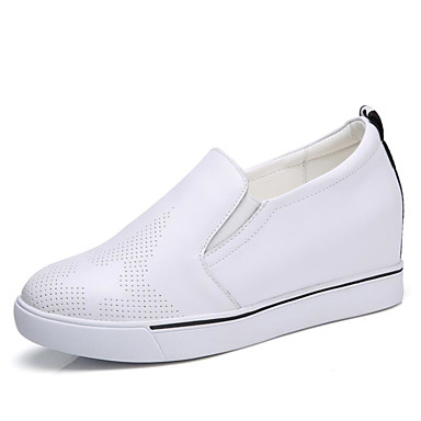 Women's Shoes Leather / Cowhide Spring / Summer / Fall Light Soles Sneakers Wedge Heel Round Toe Split Joint White / Black