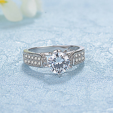 Women's AAA Cubic Zirconia Band Ring - Platinum Plated Fashion, Elegant 6 / 7 / 8 Silver For Wedding / Engagement / Daily