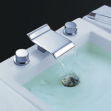 Fürdőszoba mosogató csaptelep - Vízesés Króm Elterjedt Két fogantyú három lyuk / Bronz