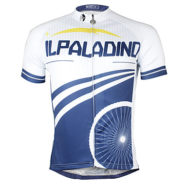 ILPALADINO Men's Short Sleeve Cycling Jersey Patterned Bike Jersey Top, Quick Dry YKK Zipper Reduces Chafing, Spring Summer, Polyester Coolmax® Eco-friendly Polyester / Stretchy