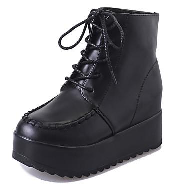 Női Cipő PU Ősz Kényelmes Csizmák Lapos Bokacsizmák Fűző Fekete