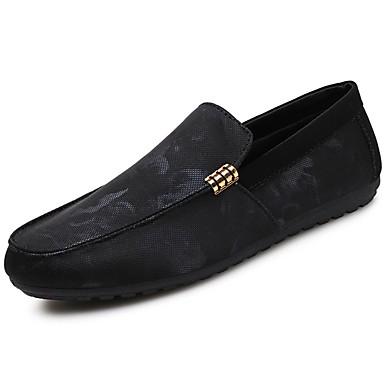 Férfi cipő PU Tavasz Ősz Kényelmes Papucsok & Balerinacipők Ráncolt mert Hétköznapi Fekete/fehér Fekete/Vörös