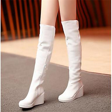 Damen Schuhe PU Herbst Winter Komfort Stiefel Für Normal Weiß