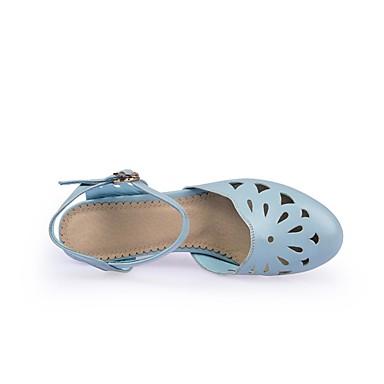 Damen Schuhe PU Sommer Komfort High Heels Niedriger Absatz Blockabsatz Runde Zehe Für Normal Blau Rosa