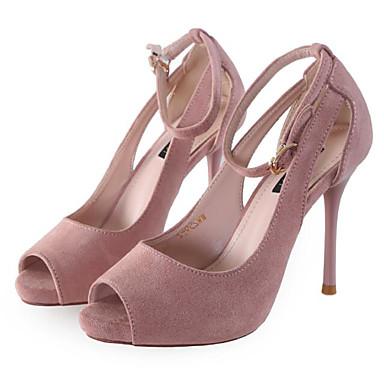 Damen Schuhe Nubukleder Frühling Sommer Komfort Hochzeit Schuhe Für Normal Schwarz Rosa