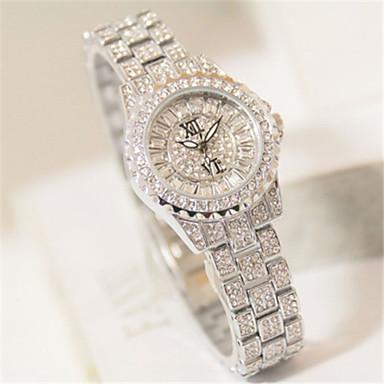 baratos Relógios Homem-Mulheres Simulado Diamante Relógio Relógio Pavé Quartzo Lega Banda Brilhante Prata Dourada