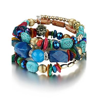 abordables Bracelet-Chaînes Bracelets Bracelets Plusieurs Tours Femme Unisexe Fleur Bohème Naturel Mode Bracelet Bijoux Rouge Vert Bleu Forme Géométrique pour Soirée Anniversaire Cadeau Décontracté Scène