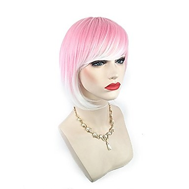 Synthetic Wig Straight Pink Bob Haircut / With Bangs Synthetic Hair Highlighted / Balayage Hair Pink Wig Women's Short Capless Pink