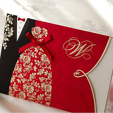 preiswerte Hochzeitseinladungen-Hülle & Taschenformat Hochzeits-Einladungen 20 - Einladungskarten Klassicher Stil Geprägtes Papier