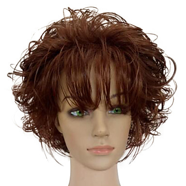 Synthetic Wig Curly With Bangs Synthetic Hair African American Wig Brown Wig Women's Short Capless