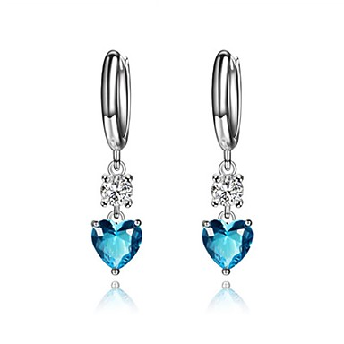 Women's Cubic Zirconia Stud Earrings - Zircon, Titanium Steel Heart Luxury, Fashion Blue For Party / Going out
