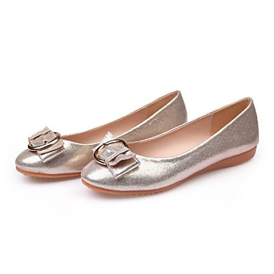 Women's Shoes Microfiber Spring / Summer Moccasin Flats Flat Heel Round Toe Buckle Gold / Black / Silver