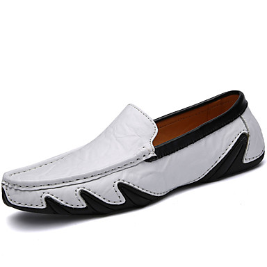 Men's Moccasin Nappa Leather Fall / Winter Loafers & Slip-Ons White / Black / Blue / Party & Evening