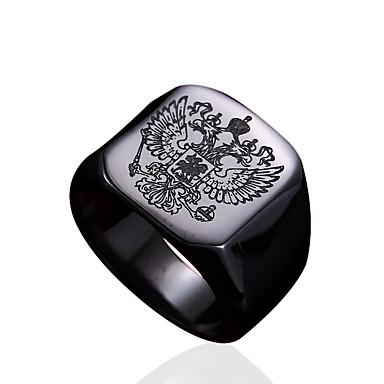 voordelige Herensieraden-Heren Ring Zegelring Goud Zwart Zilver Roestvast staal Titanium Staal Gepersonaliseerde Modieus Militair Dagelijks Causaal Sieraden familiewapen