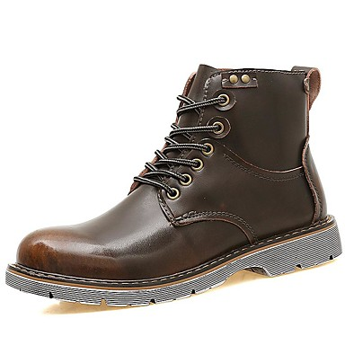 Men's Bootie Leather Fall / Winter Bootie / Combat Boots Boots Booties / Ankle Boots Black / Brown