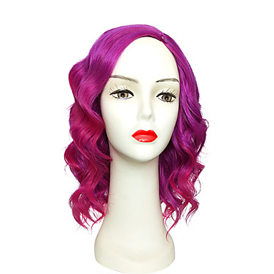 Synthetic Wig Deep Wave Layered Haircut Synthetic Hair Purple Wig Women's Short Capless