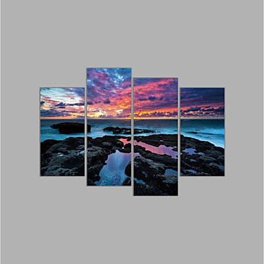 Rolled Canvas Prints Abstract, Four Panels Canvas Horizontal Print Wall Decor Home Decoration