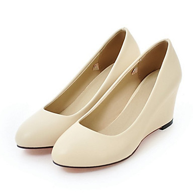 Women's Shoes PU(Polyurethane) Spring / Fall Comfort / Novelty Heels Wedge Heel Pointed Toe Beige / Blue / Pink / Wedding