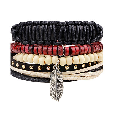 Men's Women's Strand Bracelet Leather Bracelet Jewelry Personalized Fashion Hip-Hop Handmade Leather Alloy Wings / Feather Jewelry Daily