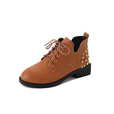 Damen Schuhe PU Frühling Herbst Komfort formale Schuhe Outdoor Blockabsatz Runde Zehe Schnürsenkel Für Kleid Schwarz Braun Armeegrün