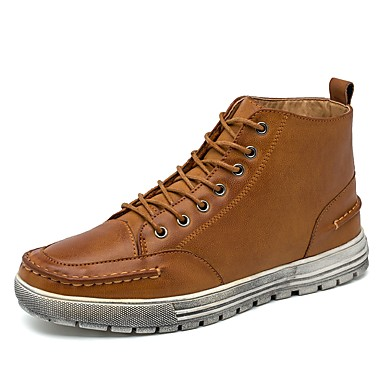 Men's Bootie Leather / PU(Polyurethane) Fall / Winter Comfort Sneakers Booties / Ankle Boots Black / Brown