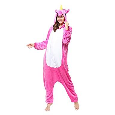 Felnőttek Kigurumi pizsama Unicorn Onesie pizsama Jelmez Flanel Báránybunda Fukszia Cosplay mert Allati Hálóruházat Rajzfilm Halloween Fesztivál / ünnepek / Karácsony
