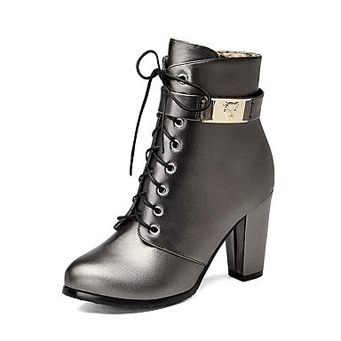 povoljno Ženske čizme-Žene Čizme Kockasta potpetica Okrugli Toe Patent-zatvarač / Vezanje Umjetna koža Čizme gležnjače / do gležnja Modne čizme Zima Crn / Pink / Svjetlosmeđ