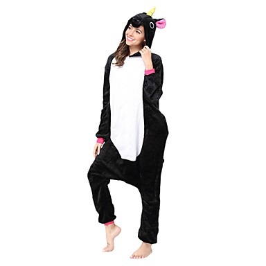 Adults' Kigurumi Pajamas Unicorn Onesie Pajamas Costume Flannel Toison Black / Black Cosplay For Animal Sleepwear Cartoon Halloween Festival / Holiday / Christmas