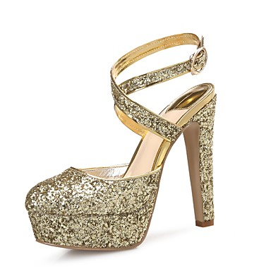 Women's Shoes Sparkling Glitter / Paillette / Synthetic Microfiber PU Spring / Fall Slingback Heels Stiletto Heel Round Toe Sequin Gold /