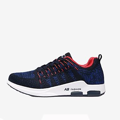 Férfi cipő PU Tavasz Ősz Kényelmes Sportcipők Gyalogló Fűző mert Sport Fekete Szürke Kék