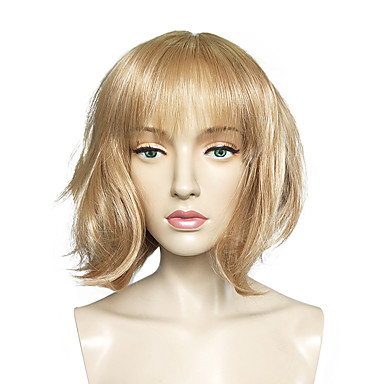 Synthetic Wig Straight Blonde Bob Haircut Synthetic Hair Blonde Wig Women's Short Capless Light Blonde