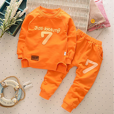 Boys' Other Clothing Set, Cotton Spring Fall Long Sleeves Green Orange Navy Blue