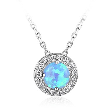 Women's Opal Pendant Necklace - Sterling Silver Colorful Silver Necklace For Daily, Valentine