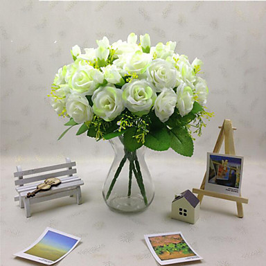 Artificial Flowers 1 Branch Pastoral Style Roses Wall Flower