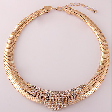 Women's Synthetic Diamond Choker Necklace - Gold Plated Fashion Gold, White, Black Necklace For Daily