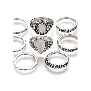 Női Nem egyező Egymásra rakható Gyűrű Gyűrűk készlet - Punk Egy méret Ezüst Kompatibilitás Karácsony Klub