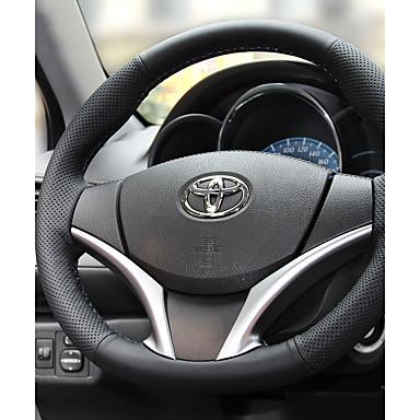 Steering Wheel Covers Leather 38cm Black / Black / Red For Toyota RAV4 All years